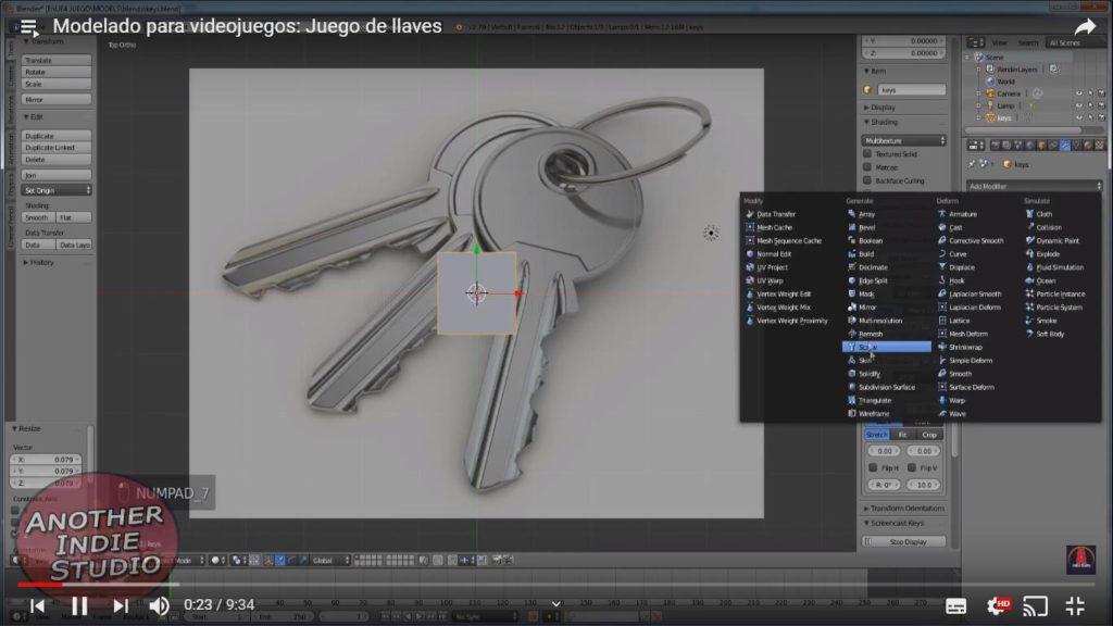 modelar llaves blender